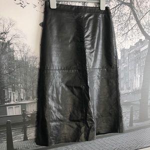 GAP Dresses - Vintage 90s Gap genuine leather black a line skirt